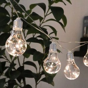 Edison style string lights silver